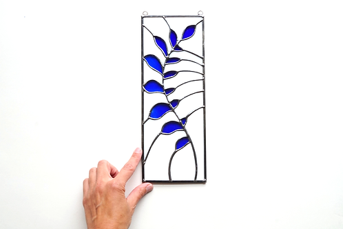 Stained Glass Panel, Botanical White and Blue