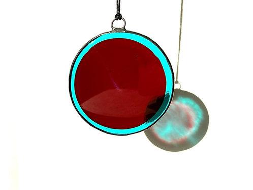 Aqua and Red Circle Suncatcher, Large