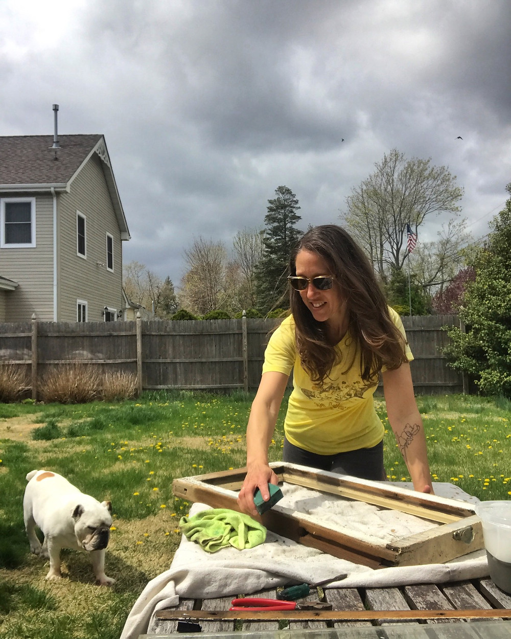 Laura Koss of Garden State Glasswork working in Lake Como, New Jersey