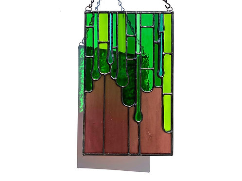 Fused and Stained Glass Panel, Purple and Green