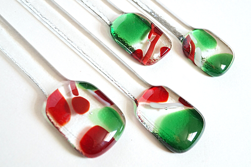 Christmas Cocktail Stirrerr, Red and Green, Set of 4