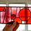 Thumbnail: Stained Glass Panel with Fused Glass Circles, Red and Purple