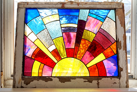 Sunrise Panel in Vintage Window Frame