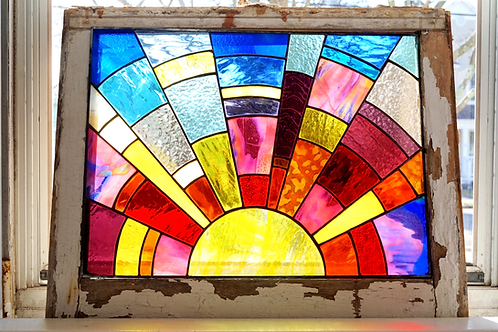 Sunrise Stained Glass in Salvaged Window Frame