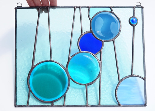 Stained Glass Circles Panel, Blue