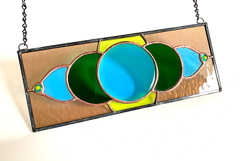 Stained Glass Panel with Fused Glass Center