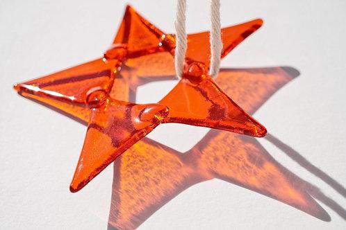 Fused Glass Star, Orange