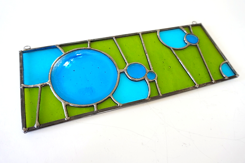 Stained Glass Panel with Fused Glass Circles, Blue and Green