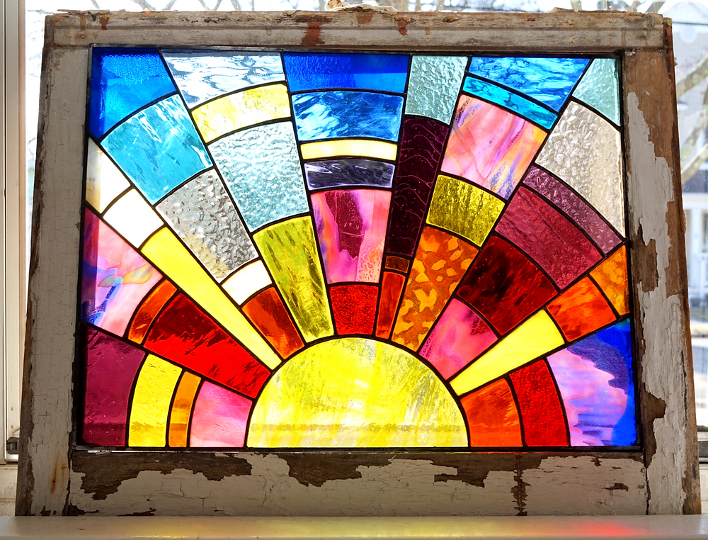 Stained glass sunrise by Laura Koss of Garden State Glasswork