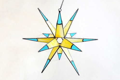 Moravian Star, Yellow and Blue