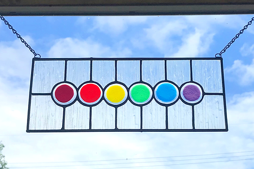 Stained Glass Panel, Rainbow Circles