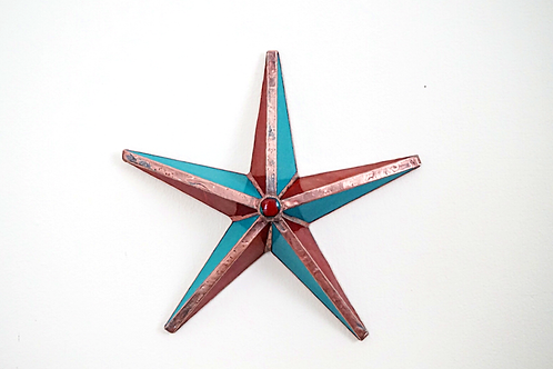 Barn Star, Copper, Blue, and Red