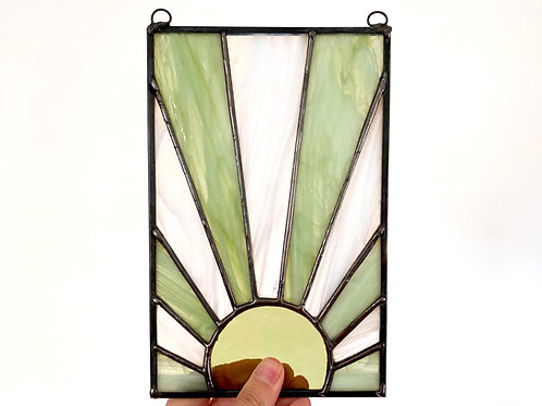 Stained Glass Sun, Green and White