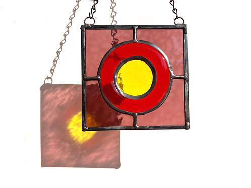 Stained Glass Suncatcher - Purple, Orange, and Yellow