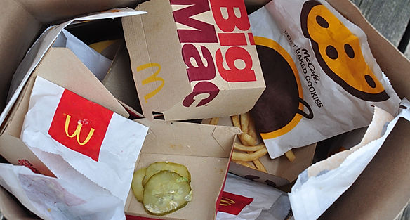 Trash of McDonalds items that tested pos