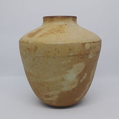 Handmade yellow acorn vase, by Clay by Design.