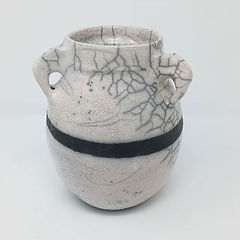 A handmade raku amphora, by Clay by Design.