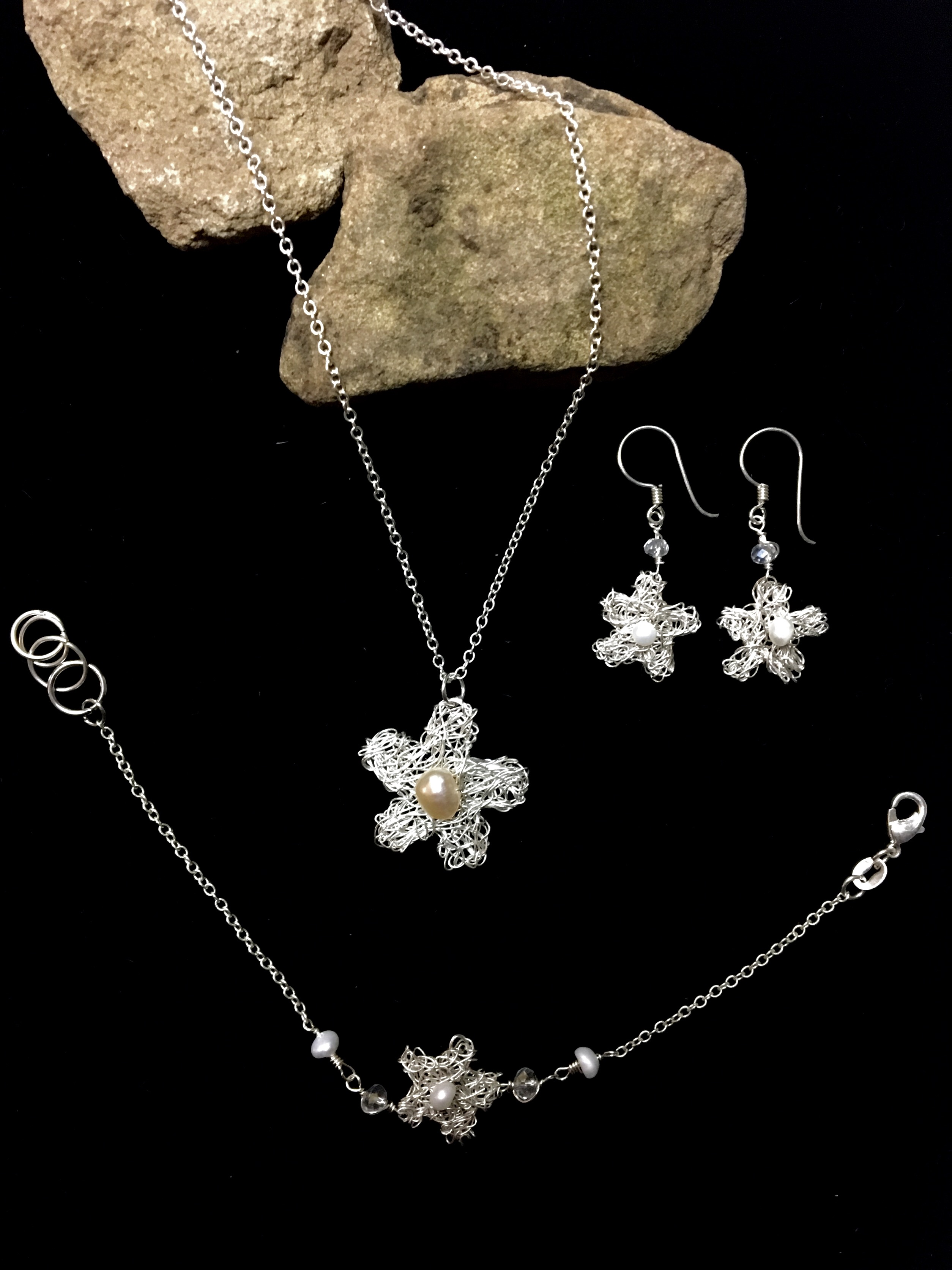 Candid Claire Set - Tangled Flower - Silver Plated
