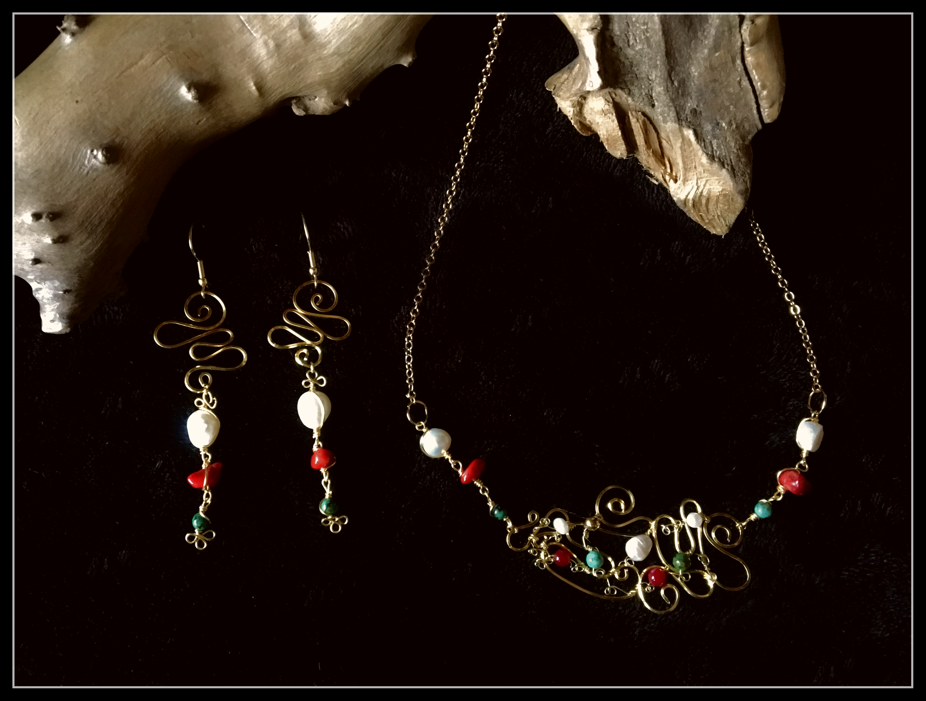 Dainty Deva Set - Swirl and Pearl - Silver Plated Gold Color