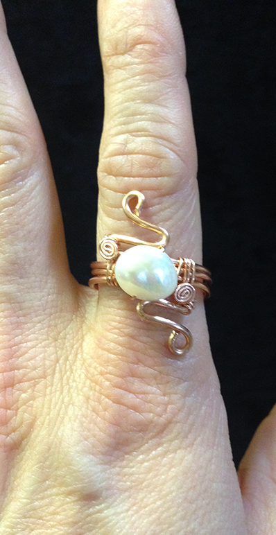 2014 Copper ring with river pearl