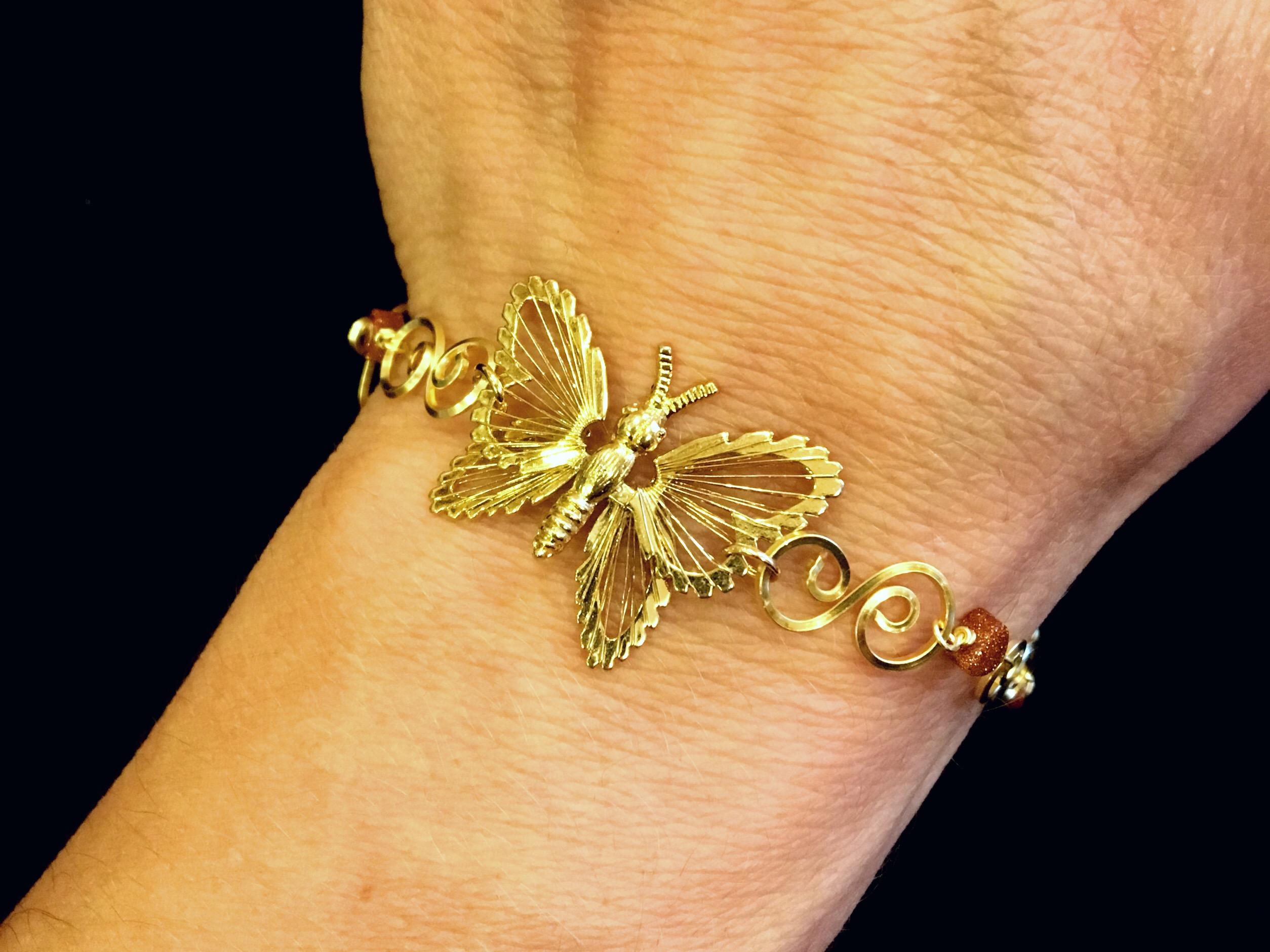 Dainty Deva Bracelet on hand- Goldfileld Butterflies - Silver Plated Gold Color
