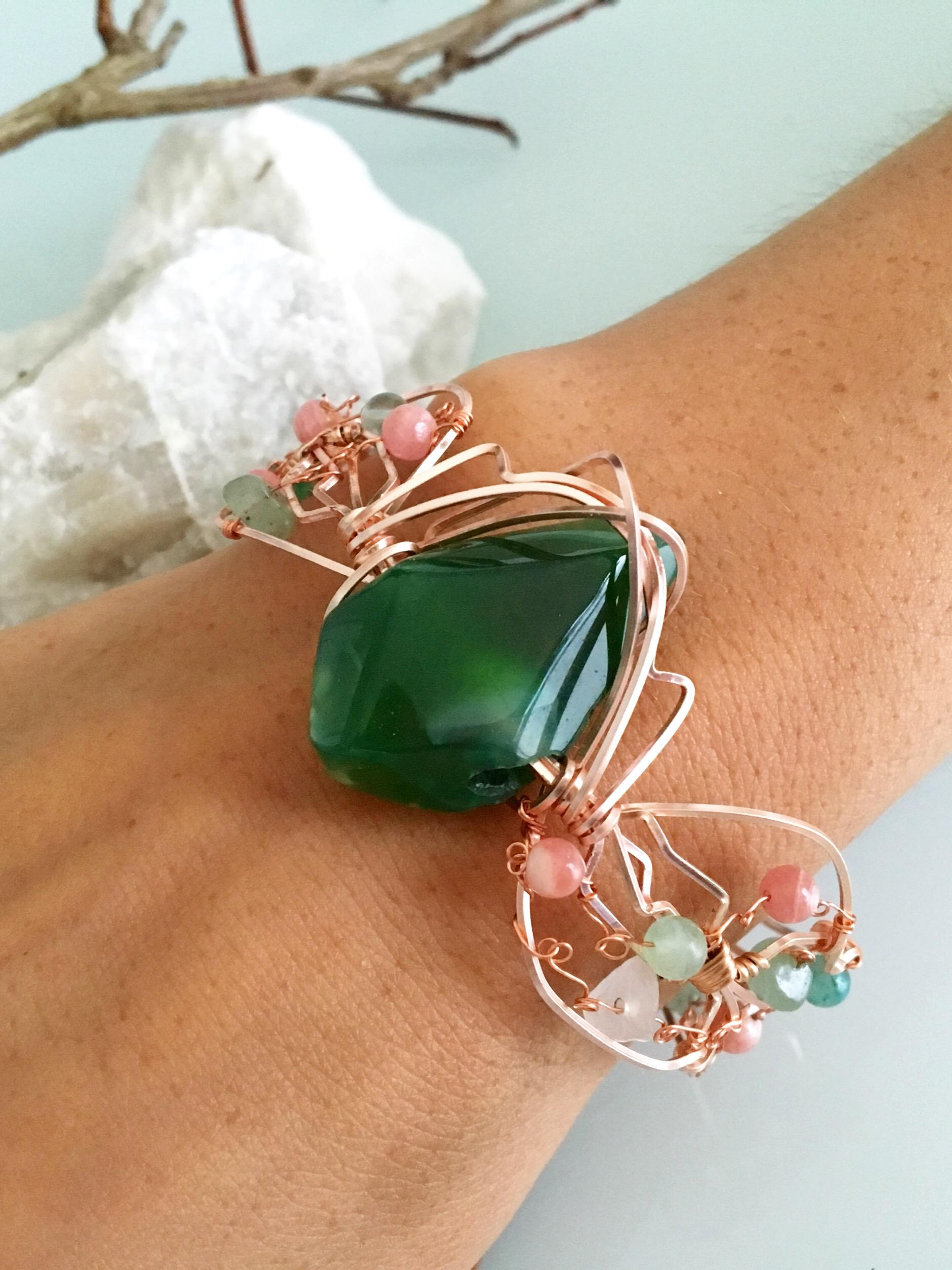 Qhresnna Quartz Bracelet - Green Agathe aventurine and Rhodocrosite - Silver Plated