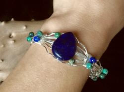Qhresnna Quartz Bracelet - Lapis Lazuli and Turquoise- Silver Plated