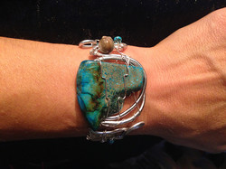 2014 Copper cuff with turquoise stone