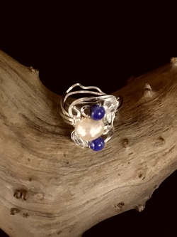 Dainty Deva Ring - Pearls and Lapis Lazuli - Silver Plated