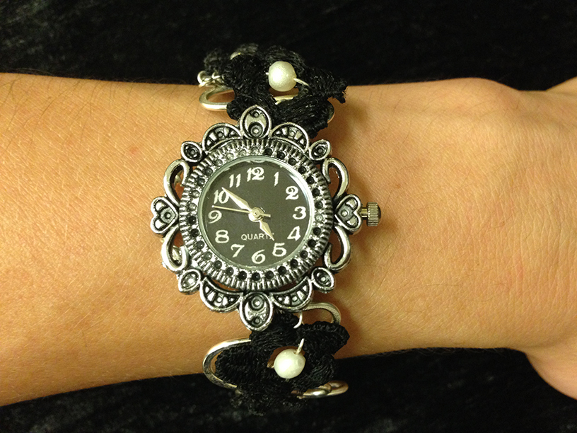 2014 Silverplated copper watch with black lace flowers