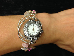 2014 Silver plated copper Watch with river pearls, swarovsky and quartz on hand