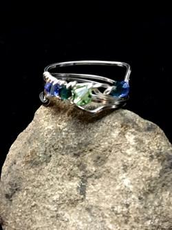 Dainty Deva Ring - blue green swarovsky - Silver Plated