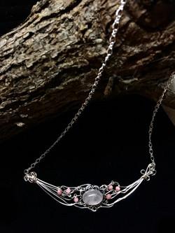 Qhresnna Quartz Necklace - Rose Quartz - Silver Plated and Sterling Chain