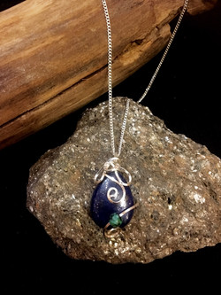 Qhresnna Quartz Necklace - Lapis Lazuli, turquoise - Silver Plated and Sterling Chain