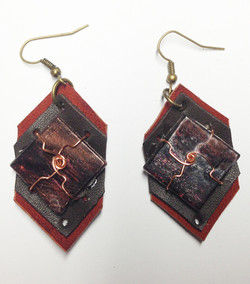 2014 Leather and Tile Earrings