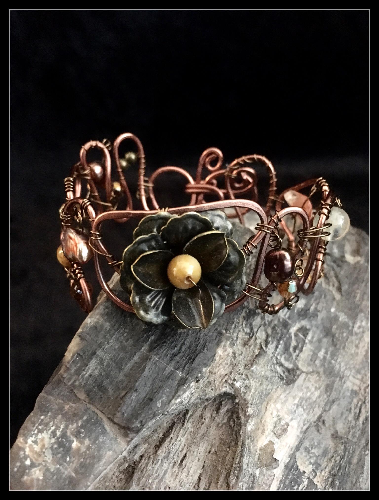 2016 copper flower bracelet