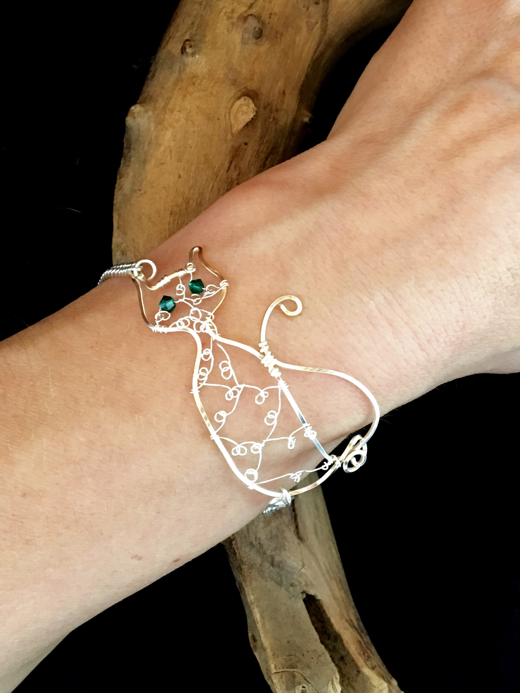 Candid Claire Bracelet - Cat - Silver Plated