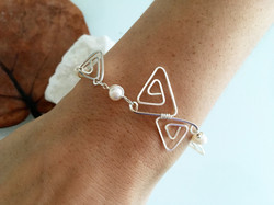 Candid Claire Bracelet - Triangles - Silver Plated