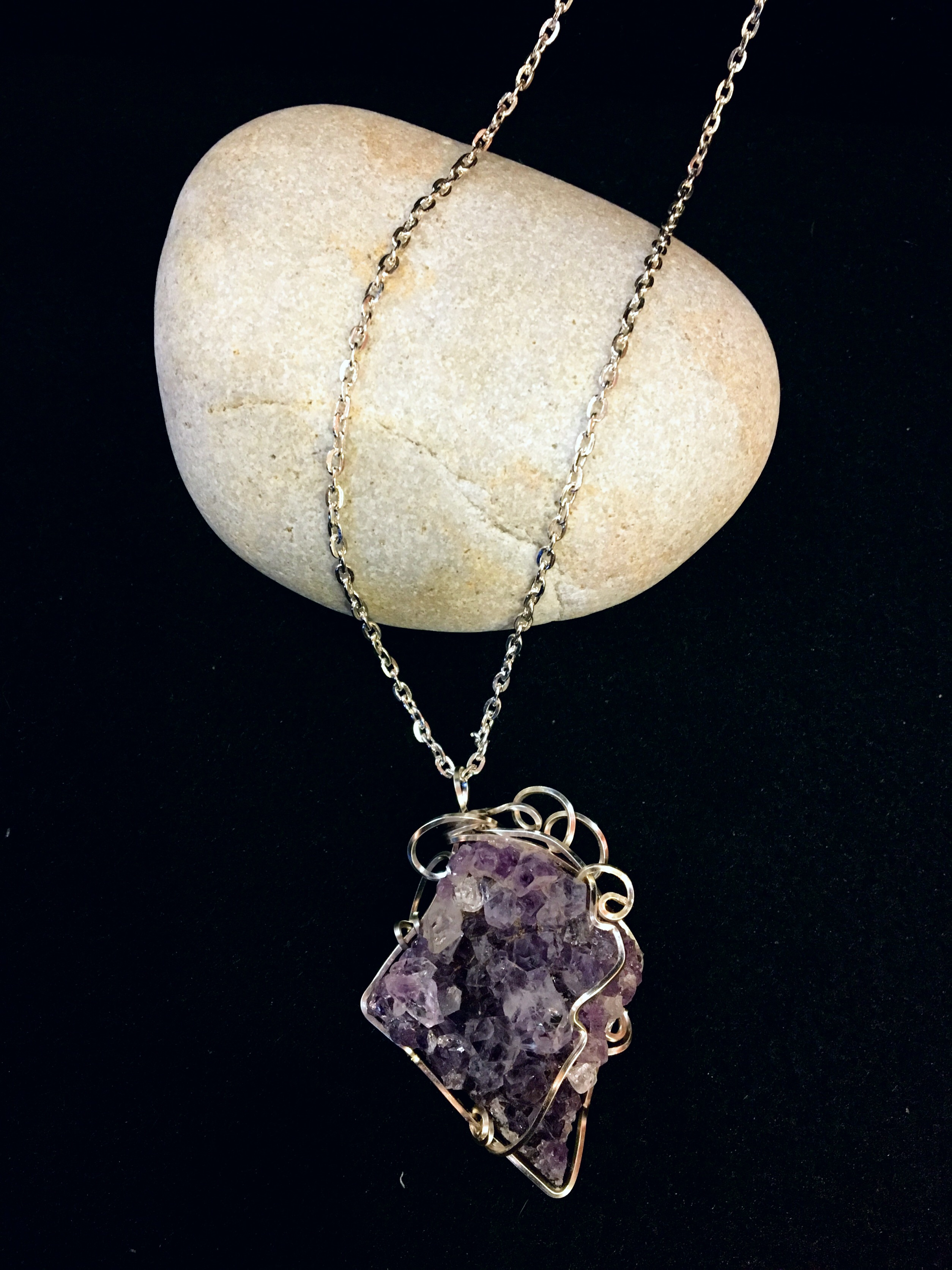 Qhresnna Quartz Necklace - Amethyst - Silver Plated and Sterling Chain