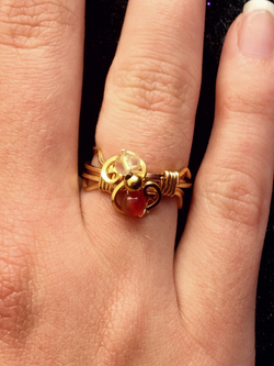 Dainty Deva Ring - Red Agathe - Silver Plated Gold Color