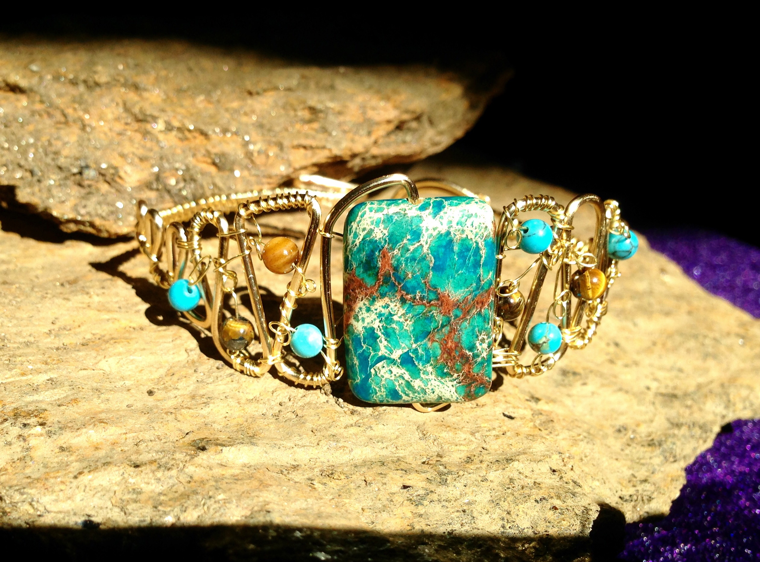 2015 Gold turquoise stone cuff