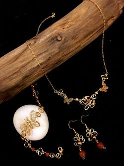 Dainty Deva Set - Goldfileld Butterflies - Silver Plated Gold Color