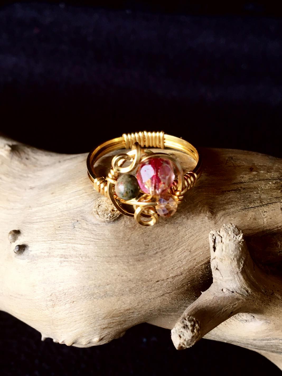 Dainty Deva Ring - Swarovsky and jasper - Silver Plated Gold Color