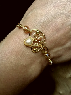 Dainty Deva Bracelet - Pearls and Amber Swarovsky - Silver Plated - Gold Filled Chain