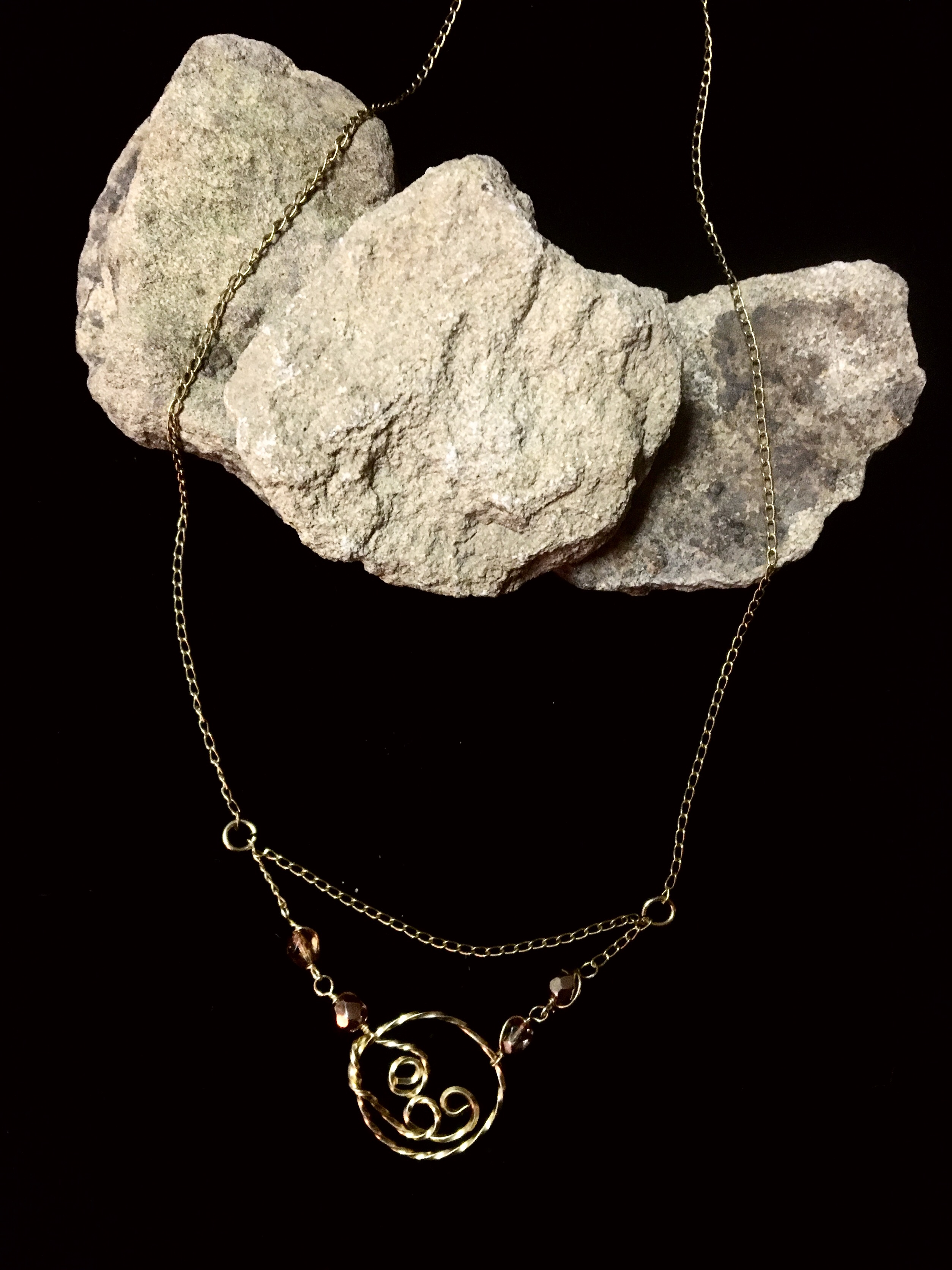 Candid Claire Necklace - Twisted Loop - silver plated gold color