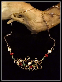 Dainty Deva Necklace - Swirl and Pearl - Silver Plated Gold Color
