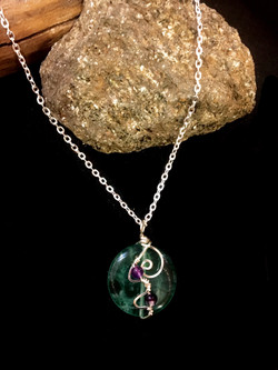 Qhresnna Quartz Necklace - Fluorite - Silver Plated and Sterling Chain