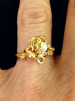Dainty Deva Ring - pink and white pearls - Silver Plated Gold Color