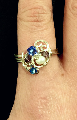 Dainty Deva Ring - Pearls and blue Swarovsky - Silver Plated