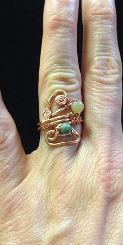 2014 Copper ring with beads and swirls